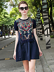 MULTIPLE LIFE Women's Going out Chinoiserie Sweater Dress,Embroidered Cotton