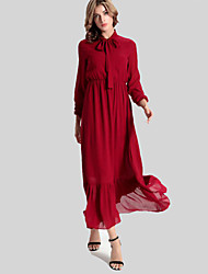Women's Casual/Daily Simple Swing Dress,Solid Turtleneck Maxi Long Sleeve Red Polyester Fall / Winter