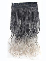 Clip In Synthetic Hair Extensions Omber Color Q1 Hight Temperature Fiber Wavy Curly Hair Piece Balck -Light Gray
