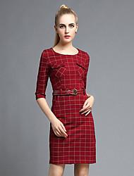 las mujeres Joj va a salir vaina de vestir lindo, cuello redondo sólido por encima de la rodilla de manga larga