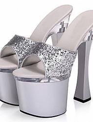Damen-High Heels-Hochzeit Lässig Party & Festivität-maßgeschneiderte Werkstoffe-Plateau-Plateau Pumps Club-Schuhe Light Up Schuhe-Silber