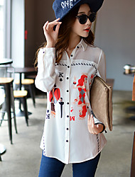 Women's Going out / Work / Holiday Cute / Street chic / Sophisticated Shirt,Print Shirt Collar Long Sleeve