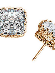 Stud Earrings Crystal Zircon Cubic Zirconia Alloy Fashion Square Gold Silver Jewelry Daily Casual 1 pair