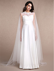 Women's Wrap Capes Sleeveless Tulle Ivory Wedding / Party/Evening Scoop  Appliques Pullover