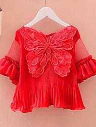 Mädchen T-Shirt-Lässig/Alltäglich einfarbig Polyester Sommer Rosa / Rot / Weiß