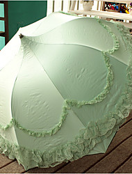 Green Folding Umbrella Sunny and Rainy Textile Lady