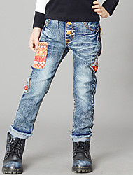 Boy's Cotton Spring/Autumn Fashion Applique Patchwork Cartoon Denim Jeans