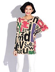 Damen Lang Pullover-Lässig/Alltäglich Street Schick Buchstabe Weiß / Beige / Grau Rundhalsausschnitt Langarm Wolle / Acryl / Nylon