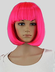 Pink Hair Dye Women Short Bob Perucas Wavy Cosplay Sexy Party Hairstyle Wig Pink Hair Dye