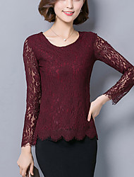 Women's Plus Size / Work Sexy Spring / Fall Slim Blouse,Lace/Cut Out Embroidered Long Sleeve Pink / Red Nylon Medium