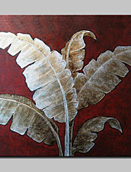 Hand-painted Modern Abstract Banana Leaf Oil Paintings On Canvas Wall Art With Stretched Frame Ready To Hang 100x100cm