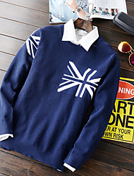 Men's Print Casual Pullover,Polyester Long Sleeve Blue