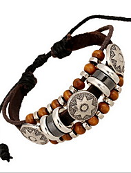 Brown Leather Wrap Bracelet with Bead