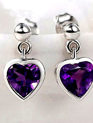 Earring Heart Jewelry Women Fashion Wedding / Party / Daily / Casual / Sports Sterling Silver / Crystal 2pcs / 1 pair Purple