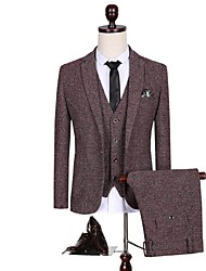 Suits Tailored Fit Notch Single Breasted One-button Polyester Solid 3 Pieces Burgundy  Red Buttons