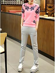 Normal Hoodies Femme Décontracté / Quotidien / Grandes Tailles simple,Fleur Rose / Rouge / Blanc / Gris Col Arrondi Manches Longues