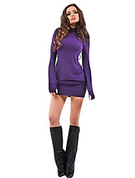 Women's Casual/Daily Sexy Bodycon Dress,Solid Round Neck Above Knee Long Sleeve Black / Purple Polyester Fall