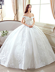 Ball Gown Off-the-shoulder Floor Length Lace Tulle Wedding Dress with Pattern by YUANFEISHANI