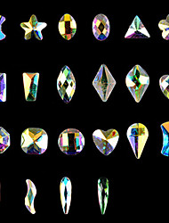 10PCS Nail Art  Flat Many Aspects Special-Shaped Diamond AB Iridescence Nails ShanZuan 10 Style Optional