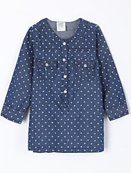 Girl's Casual/Daily Polka Dot Dress / JeansCotton Fall Blue
