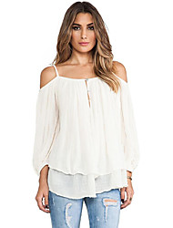 Women's Going out Street chic Fall T-shirt,Solid Off Shoulder Long Sleeve White Cotton Medium