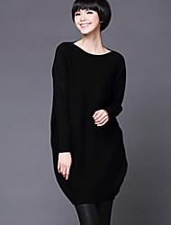 Damen Lang Pullover-Lässig/Alltäglich / Urlaub Einfach / Anspruchsvoll Solide / HahnentrittmusterBlau / Rot / Beige / Schwarz / Braun /