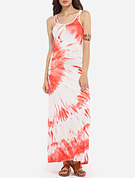 Women's Beach Sexy / Simple Sheath Dress,Geometric U Neck Maxi Sleeveless Orange Polyester All Seasons