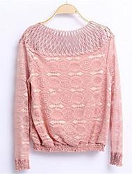 Damen Solide Einfach / Niedlich Ausgehen / Lässig/Alltäglich T-shirt,Rundhalsausschnitt Frühling / Herbst Langarm Rosa / Weiß / Schwarz