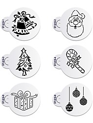 6Pcs Christmas Stencils Template for Cookie Christmas Tree Stencil Cake Decorating Tool ST-918