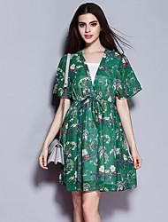 Sybel femmes sortant rue robe chic et lâche, impression bustier genou manches courtes polyester vert été
