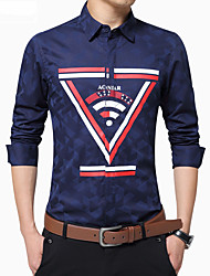 Men's Fashion Personalized Printing Covered Button Slim Fit Business Long Sleeved Shirt; Cotton/Plus Size/Print