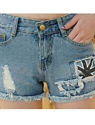 De las mujeres Pantalones Cortos / Vaquero-Simple / Bonito Microelástico-Tipos Especiales de Pelo