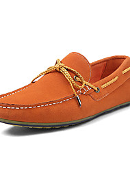 Men's Boat Shoes Spring Summer Fall Winter Moccasin Suede Casual Flat Heel Lace-up Black Navy Orange Light Green Others
