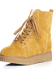 Women's Boots Spring / Fall / Winter Motorcycle Boots Fleece Casual Platform Lace-up Black / Yellow / Beige Others
