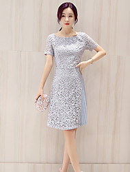 Women's Going out Cute Lace Dress,Solid Square Neck Knee-length Short Sleeve Blue Others Summer Mid Rise Micro-elastic