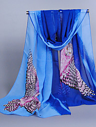 Women's Chiffon Owl Print Scarf,Royal Blue/Orange/Pink/Purple/Blue/Fuchsia/Gray