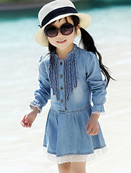 Girl's Cotton Spring/Autumn Fashion Ruffle Skirt Long Sleeve Lace Denim Dress