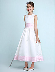 A-Line Princess Jewel Neck Knee Length Satin Junior Bridesmaid Dress with Sash / Ribbon Ruching Ruffles by LAN TING BRIDE®