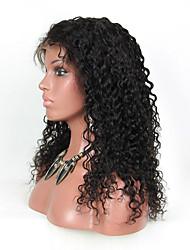 evawigs onda onda profunda 10-26 polegadas perucas 100% cabelo humano pequena parte dianteira do laço cacheados perucas cor natural