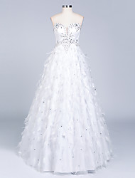 A-line Wedding Dress Sparkle & Shine Floor-length Sweetheart Satin with Beading Feather / Fur