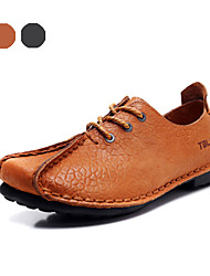 Men's Shoes Outdoor / Party & Evening / Casual Leather Oxfords Black / Brown(Manual manufacture)