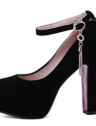 Damen-High Heels-Kleid / Lässig / Party & Festivität-Kunstleder-Blockabsatz-Absätze / Plateau / Rundeschuh-Schwarz / Rot