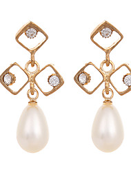 European Style 2016 Gold Plated Earrings for Women White Pearl Rhinestone Earings Korea Fashion Jewelry