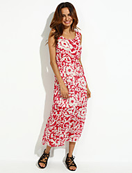 Women's Blue/Red Round Print Chiffon Beach Maxi Dress