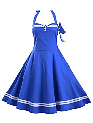 Women's Casual/Daily Sexy Dress,Solid Halter Knee-length Blue / Red / Black Cotton Summer