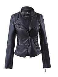 Для женщин На каждый день Весна Осень Кожаные куртки V-образный вырез,Простой Однотонный Обычная Длинный рукав,Полиуретановая