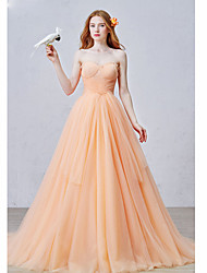 Ball Gown Sweetheart Court Train Tulle Formal Evening Dress with Pleats