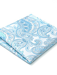 For Men 100% Silk Light Blue Paisley Men's Pocket Square New Handkerchief Jacquard Woven Dress Business Wedding