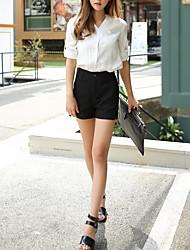 Mulheres Calças Simples Shorts / Chinos Raiom Sem Elasticidade Mulheres