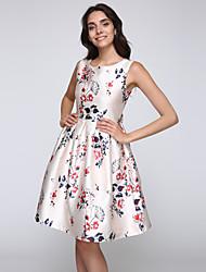 Swing Kleid-Party/Cocktail Retro Blumen Rundhalsausschnitt Knielang Ärmellos Weiß Nylon Sommer Mittlere Hüfthöhe